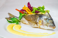 Tasty big baked fish with vegetables and herbs, on a white plate. Horizontal frame Royalty Free Stock Image