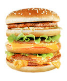 Tasty big burger. Photographed close-up on a white background stock photos