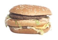 Tasty Big burger. Isolated on a white background stock photography