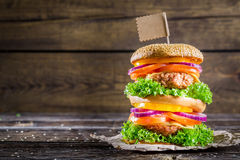 Tasty and big double-decker burger Stock Photos
