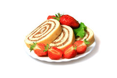 Tasty biscuit rolls and strawberry Royalty Free Stock Photography