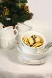 Tasty biscuits in the white cup for Christmas Stock Images