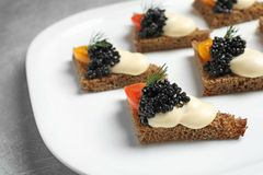 Tasty black caviar appetizer Stock Image