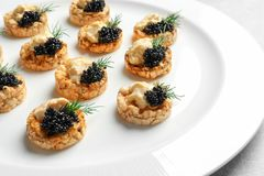 Tasty black caviar appetizer Stock Photography