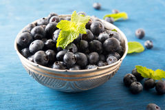 Tasty blueberries in silver bowl on a blue background Royalty Free Stock Image
