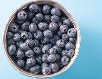 Tasty blueberries in silver bowl on a blue panited wooden table. Royalty Free Stock Photo