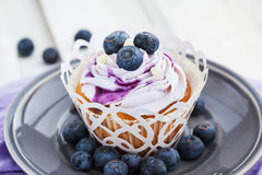 Tasty blueberry cupcake on plate Stock Images