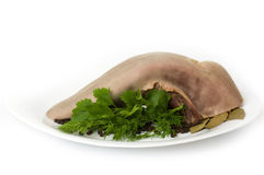 Tasty boiled beef tongue with dill Stock Image