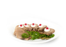 Tasty boiled beef tongue with dill Royalty Free Stock Image