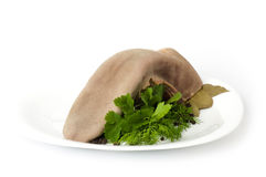 Tasty boiled beef tongue with dill Stock Photo