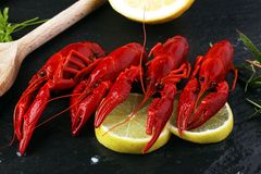 tasty boiled crawfish closeup on stone table, seafood dinner, no Stock Photos