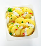 Tasty Boiled Potato Slices on White Bowl Royalty Free Stock Photography