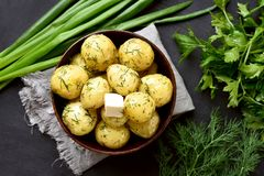 Tasty boiled potatoes with dill Royalty Free Stock Photography
