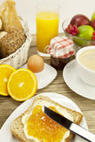 Tasty breackfast with toast and marmelade on table Stock Photo