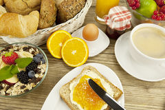 Tasty breackfast with toast and marmelade on table Royalty Free Stock Image
