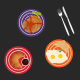 Tasty breakfast with eggs, pancakes and croissant, vector illustration. Plates with scrambled eggs, pancakes and croissant isolated on dark background. Art Stock Photography