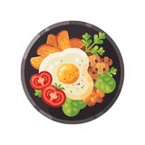 Tasty breakfast flat illustration. Dish with omelet, tomatoes, fried potatoes royalty free illustration
