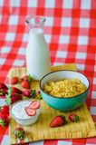 Tasty breakfast, fresh milk in glass bottle, cereals with honey and nuts in green ceramic bowl, tasty yogurt in small glass bowl stock photos