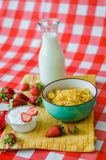 Tasty breakfast, fresh milk in glass bottle, cereals with honey and nuts in green ceramic bowl, tasty yogurt in small glass bowl royalty free stock photography