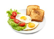 Tasty breakfast with fried eggs Royalty Free Stock Photos