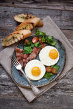 Tasty breakfast with fried eggs Stock Photo