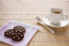 A tasty breakfast with italian coffee and biscuits Stock Photos