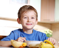 Tasty breakfast of little boy Stock Images