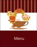 Tasty breakfast menu design template Stock Images