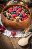 Tasty breakfast with milk and fruit. Royalty Free Stock Photography