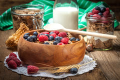 Tasty breakfast with milk and fruit. Stock Photos