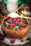 Tasty breakfast with milk and fruit. Stock Images