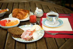 Tasty breakfast served outdoors Royalty Free Stock Photo