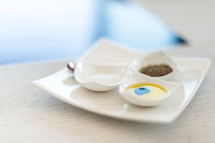 Tasty breakfast: set of three small plates. Royalty Free Stock Photo