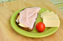 Tasty breakfast. Slice of bread, ham and cheese Stock Photo