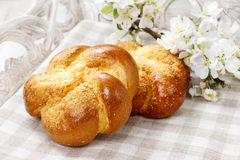 Tasty breakfast: sweet homemade buns Royalty Free Stock Images
