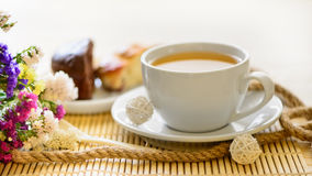 Tasty breakfast tea and cakes Stock Photo