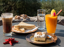 Tasty breakfast during a vacation. Royalty Free Stock Photo