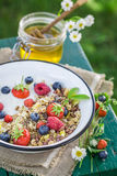 Tasty breakfast with yogurt and berry fruits in sunny day Stock Photo