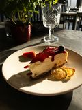 Tasty bright sunny cheesecake under rays of sun royalty free stock image