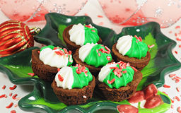 Tasty brownie for Christmas Royalty Free Stock Photography