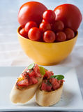 Tasty bruschetta on the plate Royalty Free Stock Photo