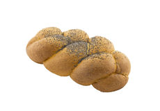 Tasty bun in the form of a plait with a poppy. Stock Photography