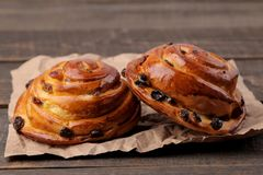 Tasty buns with raisins on a brown wooden background. fresh bakery. close-up royalty free stock photo