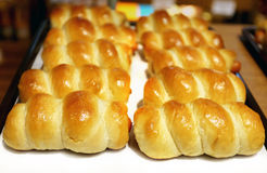 Tasty buns with sausages Stock Photos