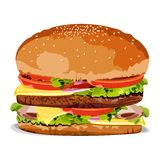 Tasty Burger. Illustration of burger on an isolated background Stock Image