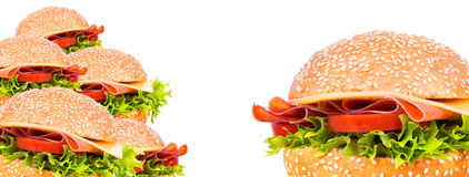 Tasty burger background Stock Photography