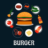 Tasty burger concept with ingredients Stock Photography