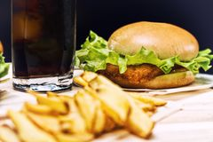 Tasty burger with fresh lettuce and potato chips royalty free stock photo