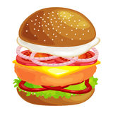 Tasty burger grilled beef and fresh vegetables dressed with sauce in bun for snack or lunch, hamburger classical Royalty Free Stock Photos