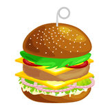 Tasty burger grilled beef and fresh vegetables dressed with sauce in bun for snack or lunch, hamburger classical Stock Photography